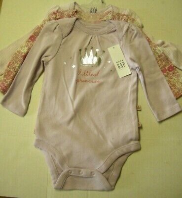 Baby One-Piece With LS By Baby Gap, size 3-6 Months, 3 Pack, Girl, Brand New