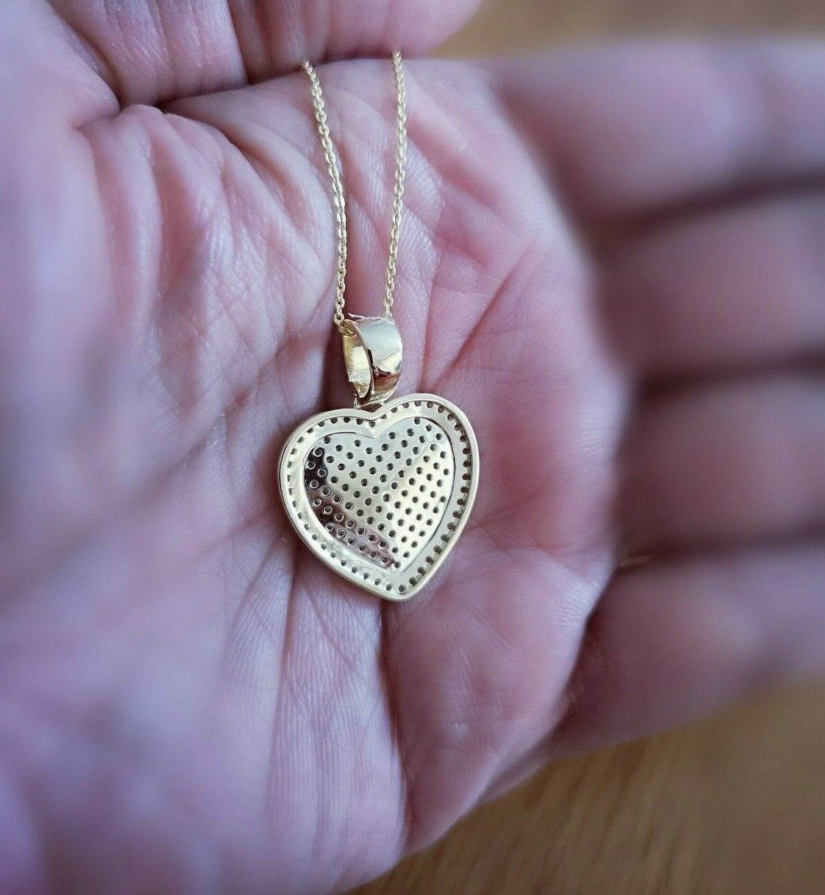 1 Ct Diamond Pendant Womens Necklace Heart Shape in 14K Yellow Gold over Chain 5