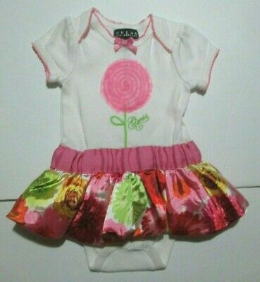 INFANT GIRLS GUESS BABY PINK FLORAL SATIN DRESS ROMPER SIZE 6-9 MONTHS