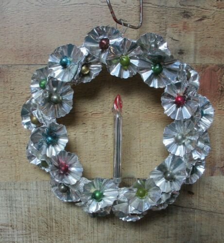 """Vintage Foil Christmas Wreath with Candle & Mercury Bead Centers 8"""""""