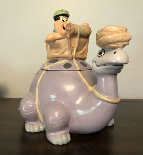 RARE * Warner Bros FRED FLINTSTONE On Dinosaur Cookie Jar