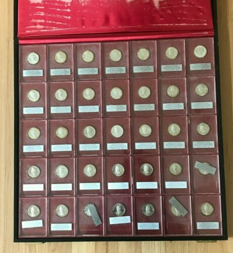 1967 Franklin Mint Sterling Silver 35 US Presidents Set in Original Box