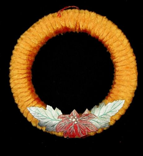 ANTIQUE CHENILLE WREATH w METALLIC EMBOSSED POINSETTIA - Japan 1930s 40s Great
