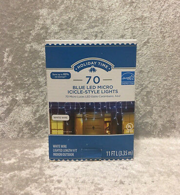 (Holiday Time 70 Blue LED Micro Icicle-Style Lights White Wire Christmas)