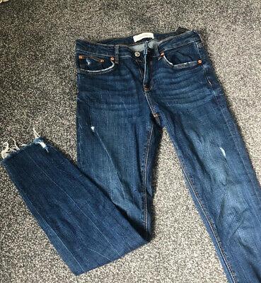 Zara Super Skinny Jeans Frayed Edge Low Waist Size 10 Worn Once
