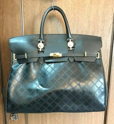 Authentic Gianni Versace black leather Medusa handbag