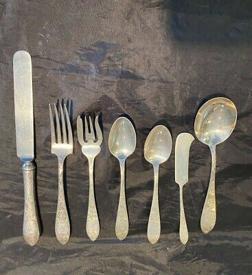 La Rochelle Hammered by Schofield Sterling Silver Cold Meat Fork 9