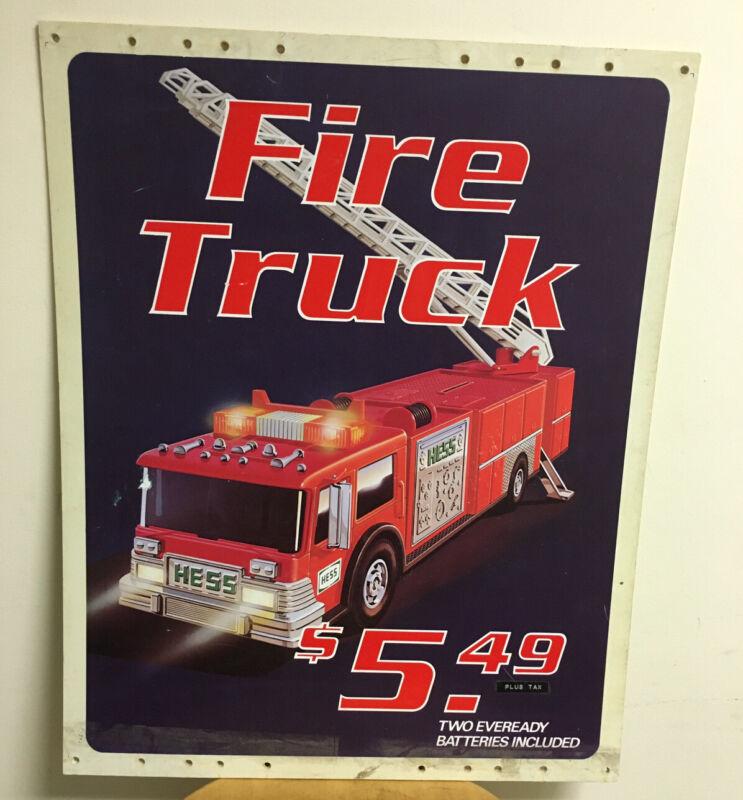 RARE VTG HESS TRUCKS 1980s RED FIRE TRUCK PLASTIC SIGN ADVERTISING TOY FIRETRUCK