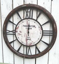 Large wall clock paddington station distressed wood french country home decor