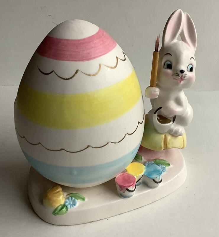 Vintage 1961 Napco Easter Bunny Rabbit Painting Egg Planter Paint Brush