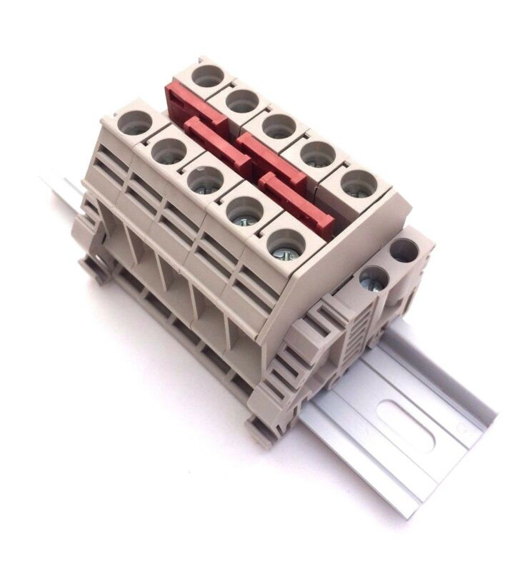 Solar Combiner Box Connector DIN Rail Terminal Blocks Dinkle 6AWG 60A 600V
