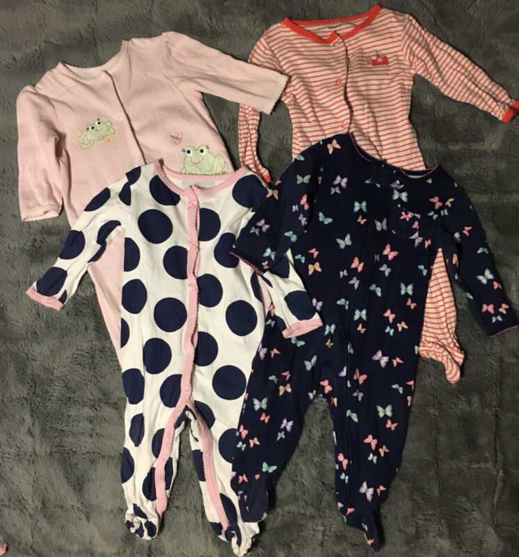 9 Month Clothing Lot / Carter's Pajamas, Rompers, Little Me Baby Girls Lot