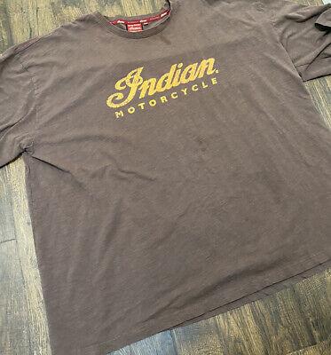 Indian Motorcycle Genuine Mens Sz 4XL Brown Retro Vtg Logo Tee T XXXXL Biker