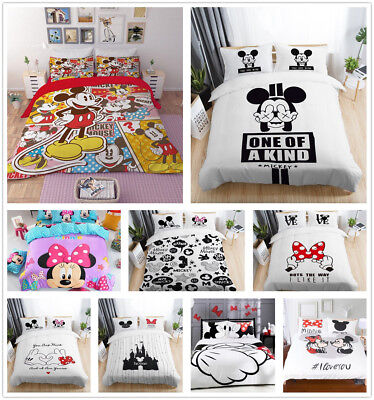 Disney Mickey Minnie Mouse Duvet Cover Bedding Set Pillowcase Comforter Cover 3D ()