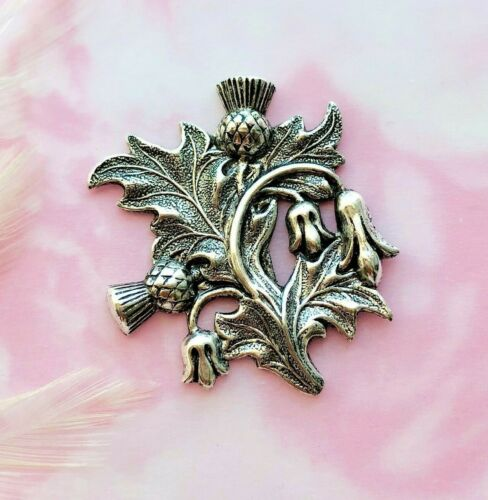 ANTIQUE SILVER Scottish Double Thistle Stamping Flower (FA-6043)