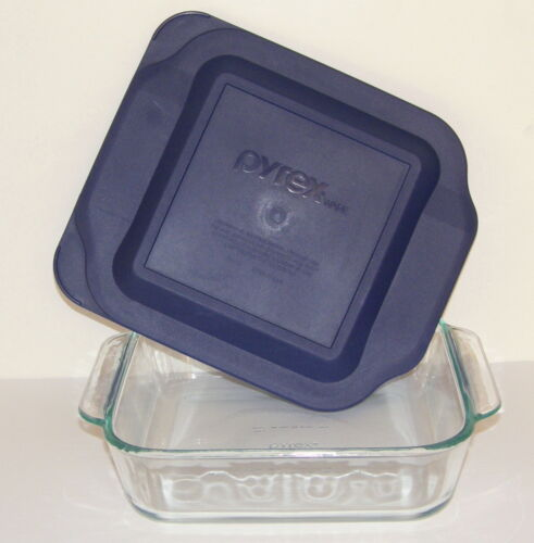 Vtg Pyrex 8 x 8 x 2 Square Baking Dish - Original Clear #222 Beautiful with Lid