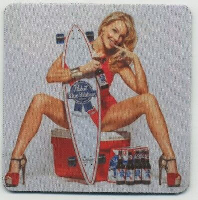 Pabst Blue Ribbon Beer COASTER - Sexy Blonde Skateboard - PBR