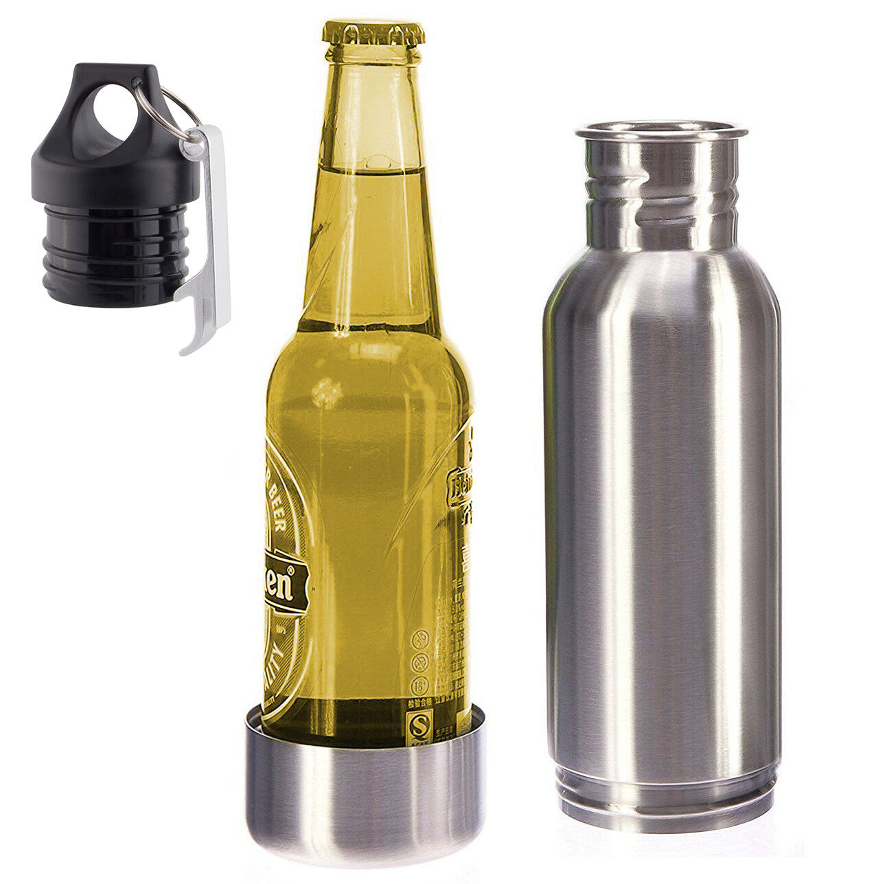 12oz Stainless Steel Beer Bottle Cooler Cold Keeper Bottle I