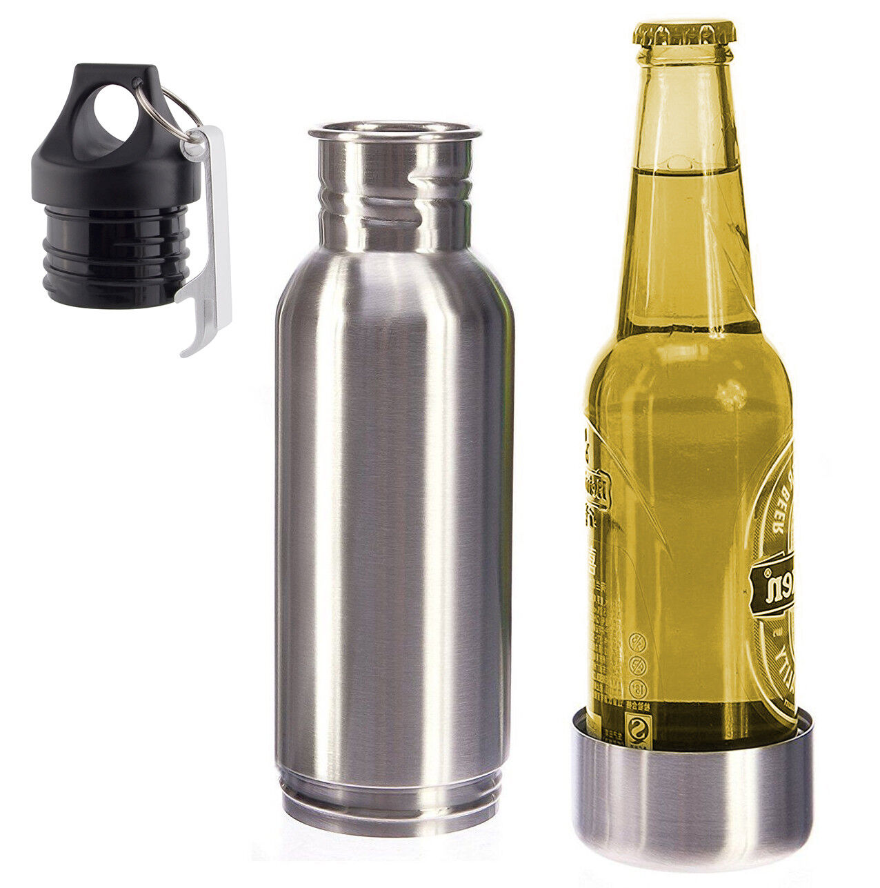 12oz Stainless Steel Beer Bottle Koozie Cooler Cold Beer Kee