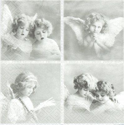 Lot de 2 Serviettes en papier Vignettes Anges Sagen Vintage Decoupage Collage