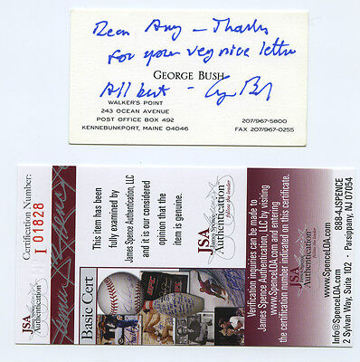 George H W Bush Signed Business Card With Handwritten Note Rare Jsa Coa