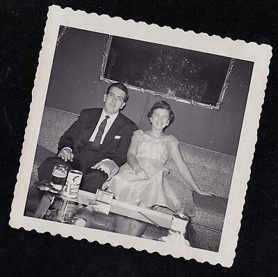 Vintage Antique Photograph Man & Woman in Retro Outfits Sitting on Couch