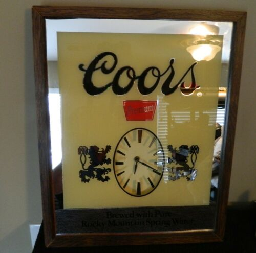 "Vintage Coors Beer Sign Mirror Clock, Size 21.5"" x 17"""