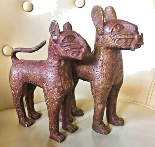 "BENIN BRONZE LEOPARD NIGERIA TRIBAL 10"" CAT Old Africa STATUE SCULPTURE ETCHED"