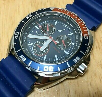 Nautica Men Moving Pepsi Bezel Diver Analog Quartz Watch Hours~Day Date~New Batt