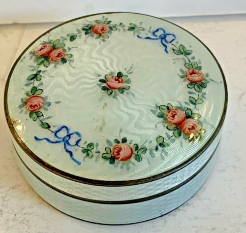 Antique Sterling Silver Blue Pink Roses Guilloche Enamel Box