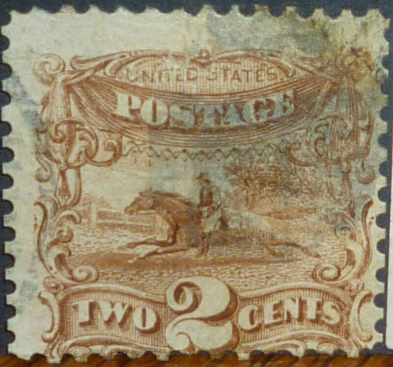 *<* FREE SHIPPING! 150-year-old US POST RIDER STAMP: 1869 #113 CATALOGS $100!