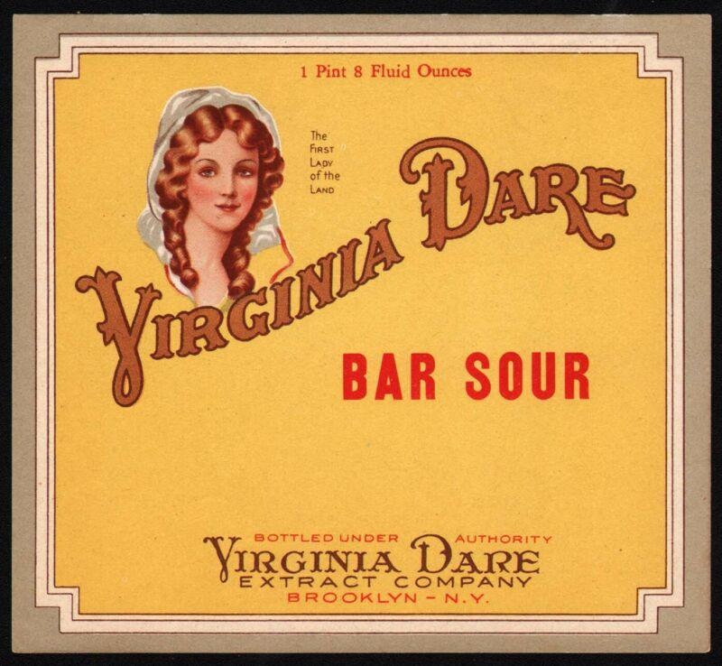 Vintage soda pop bottle label VIRGINIA DARE BAR SOUR Brooklyn NY new old stock