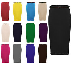 NEW-WOMENS-PLUS-SIZE-PLAIN-BELTED-BODY-CON-OFFICE-PENCIL-STRETCH-SKIRTS-16-26