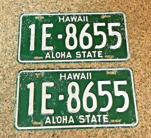 Hawaii HI License Plate Tags #1E-8655 First Plate to add State to Aloha 1961