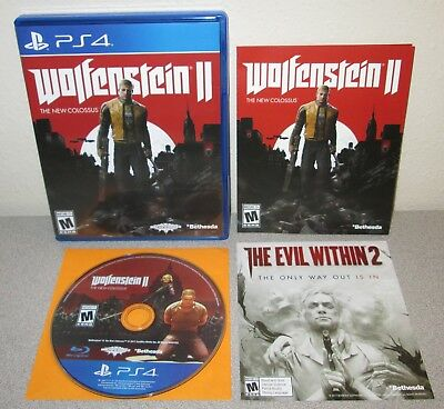 WOLFENSTEIN II New Colossus PlayStation 4 Day 1 1st Print Machine Games Bethesda