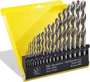 19PC HSS METRIC DRILL BIT SET TWIST DRILLS  1mm TO 10mm