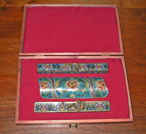 Chinese cloisonne scholars writing set