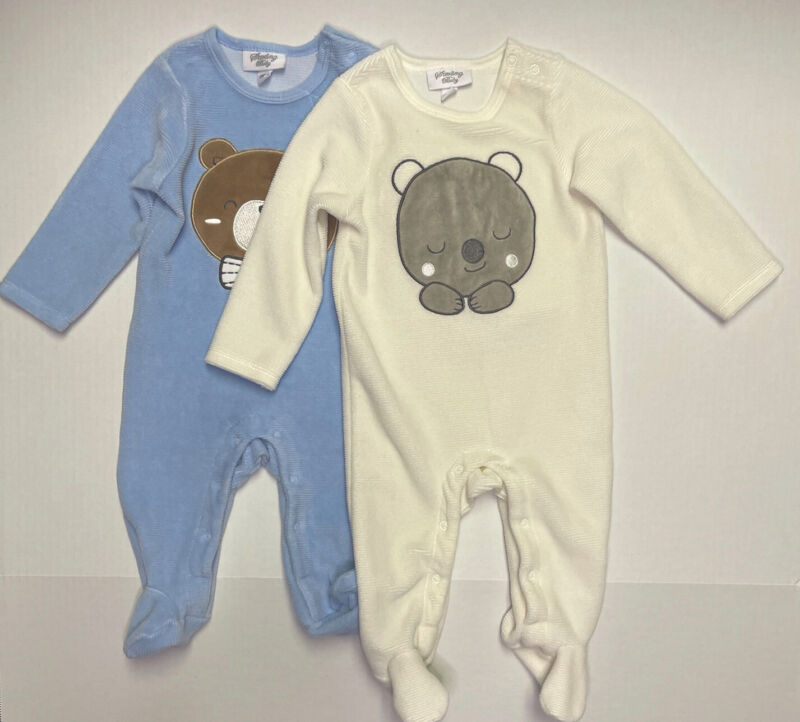 Lot of 2 Sterling Baby 6 & 9 Months Baby Long Sleeve Footed Footy Pajamas