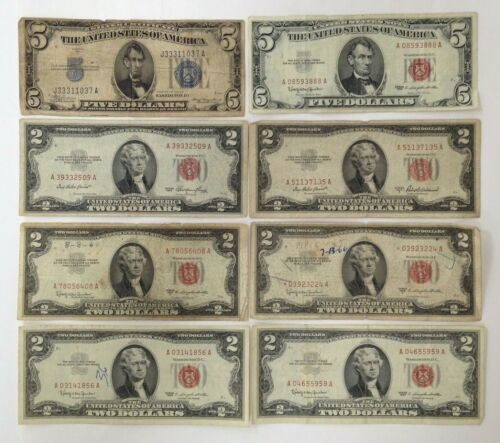 Lot of (8) Mixed Date Odd Seal $2 & $5 Red and Blue Seal Notes #RSN03