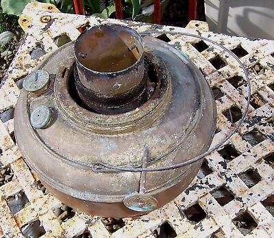 Vintage brass paraffin kerosene heater tank & burner for restoration/spares lot1