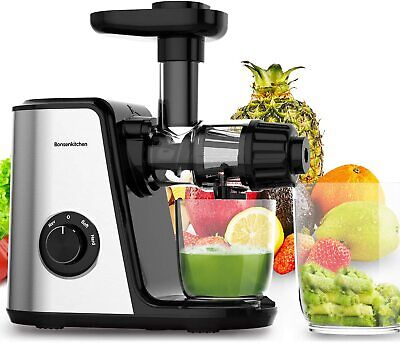 Masticating Fruit & Vegetable Juicer Machine Electric Juice Extractor Cold Press