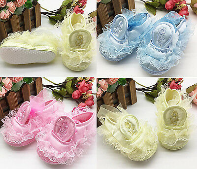 Newborn Baby Toddler Kid Girls Prewalker Anti-slip Bowknot Lace Soft Sole Shoes