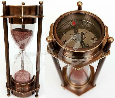 "5"" DECORATIVE BRASS SAND TIMER HOURGLASS WITH ANTIQUE MARITIME BRASS COMPASS"