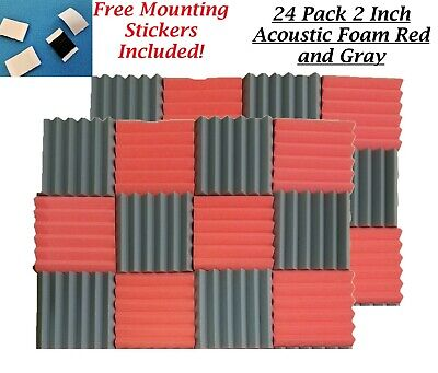 24 Pack 2 INCH Wedge Premium Acoustic Sound Proofing Studio Foam Wall Tiles