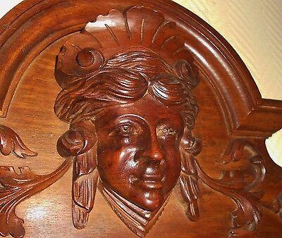 French Antique Pediment - Crest In Walnut Wood - Architectural Element - Victori