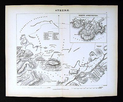 1857 Findlay Map   Athens  Acropolis Parthenon Portus Athenienses Ancient Greece