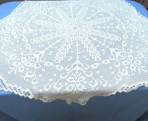 """Crochet Lace Tablecloth 52"""" Round Table Topper Beige Cotton Floral"""