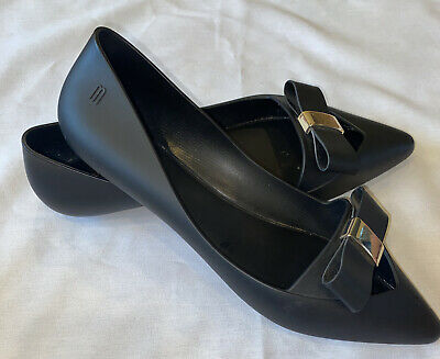 MELISSA Ballet Flats Rubber Black Size 9 40 Gold Buckle Bow