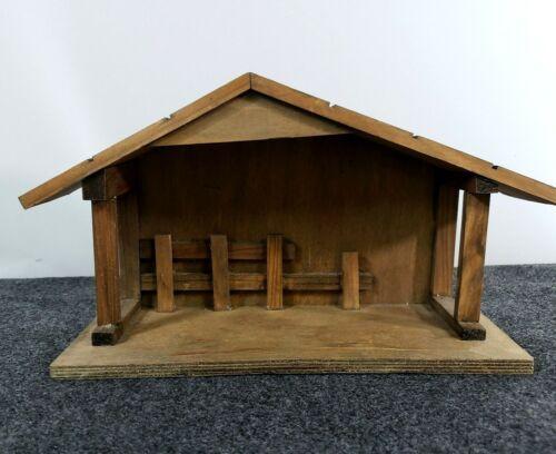 """Vintage Wooden Nativity Stable Manger Christmas Bethlehem 13.25"""" Primitive look"""