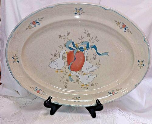 "Vintage International China MARMALADE 15"" Oval Servng Platter-Geese, Blue Ribbon"